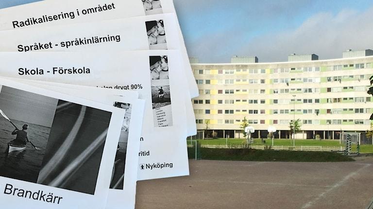 Bild på Nyköpingsområdet Brandkärr, med bild från rapporten om radikaliseringen i området.