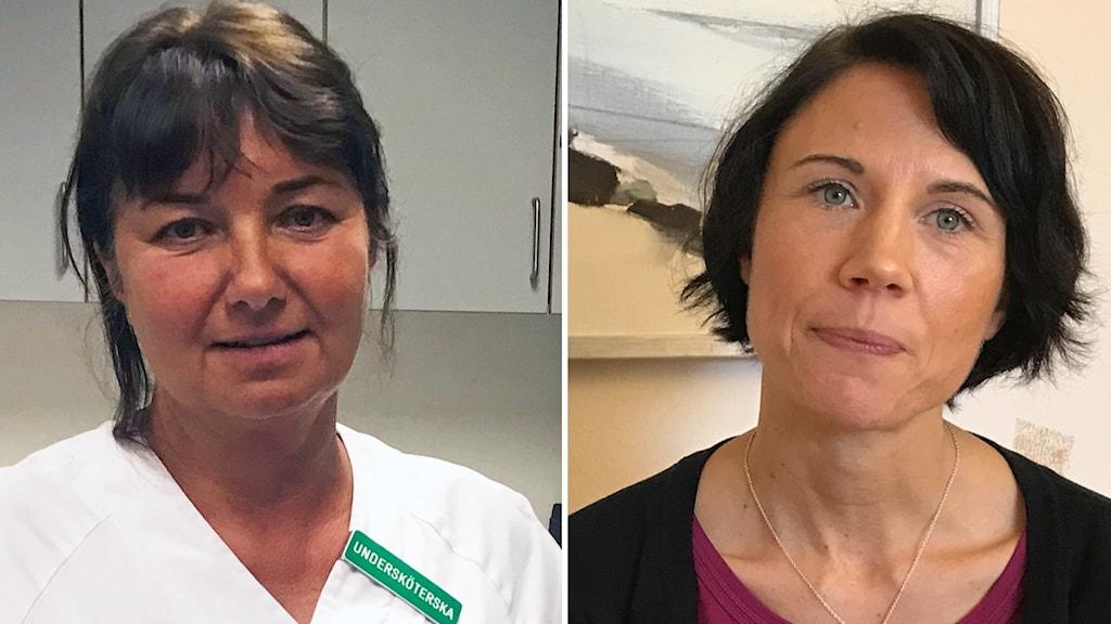 Helena Åhlander, specialistsjuksköterska och skyddsombud vid IVA, Nyköpings lasarett. Samt en bild på Kajsa Fisk HR-direktör hos region Sörmland.