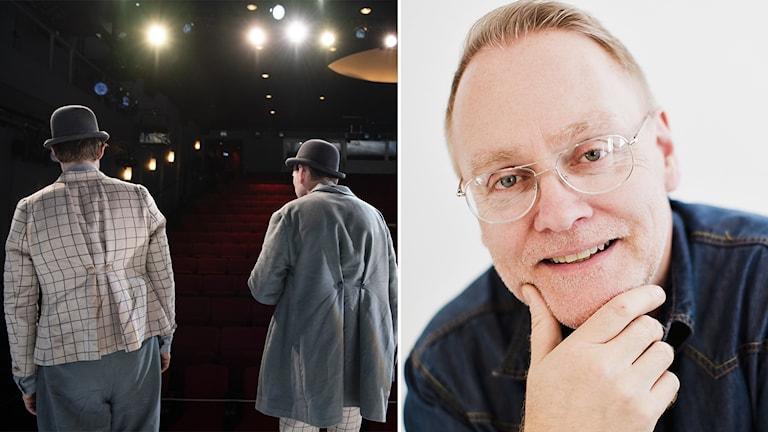 Jörgen Lindvall, verksamhetschef på Scenkonst Sörmland - ihopklippt med bild på skådespelare som står på teaterscen.