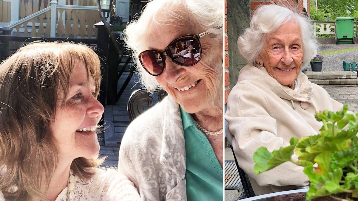 Dottern Gunilla med mamma Karin, som blev 98 år gammal.