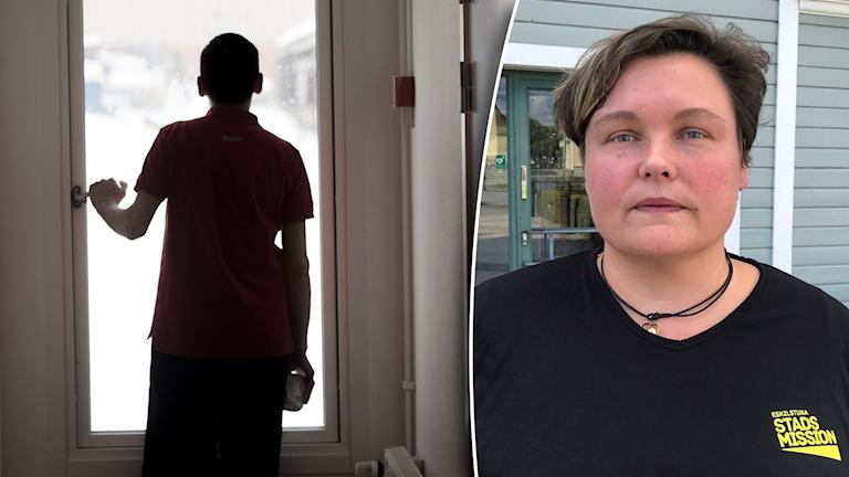 Ung man tittar ut för fönster i motljus. Till höger: Carolina Bäck inklippt.