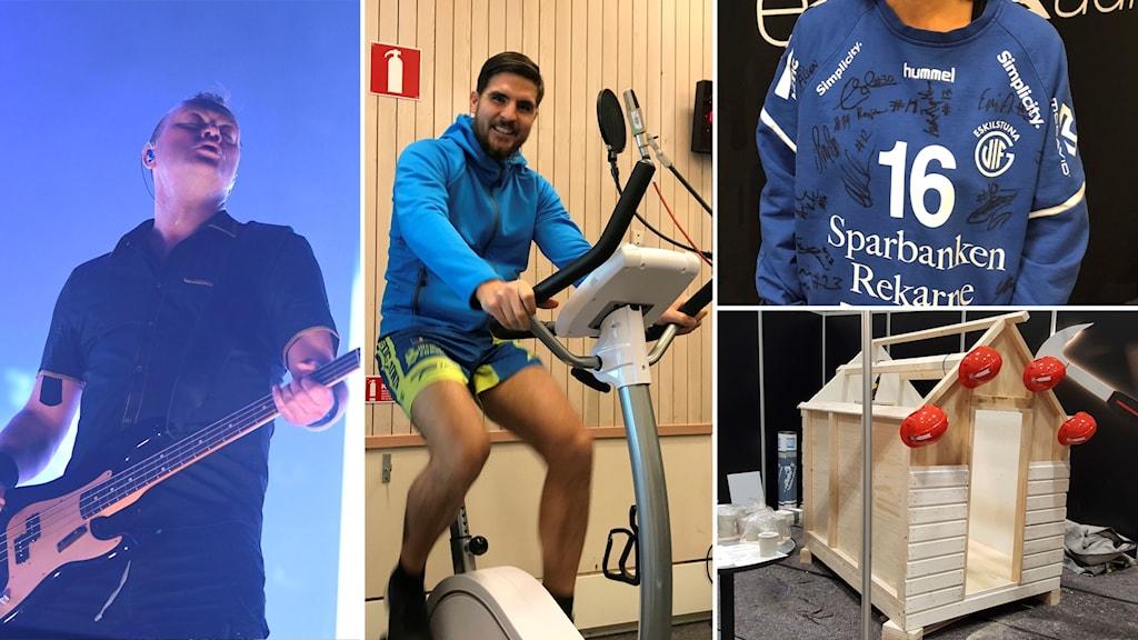 Martin Skölds scenkläder, en signerad motionscykel, en lekstuga och en signerad handbollströja från Eskilstuna Guif.