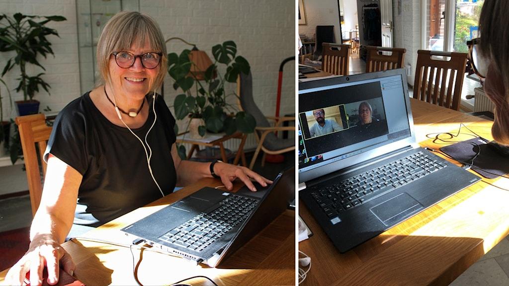 Margot Bandman vid sin dator där hon har videomöte med en man.
