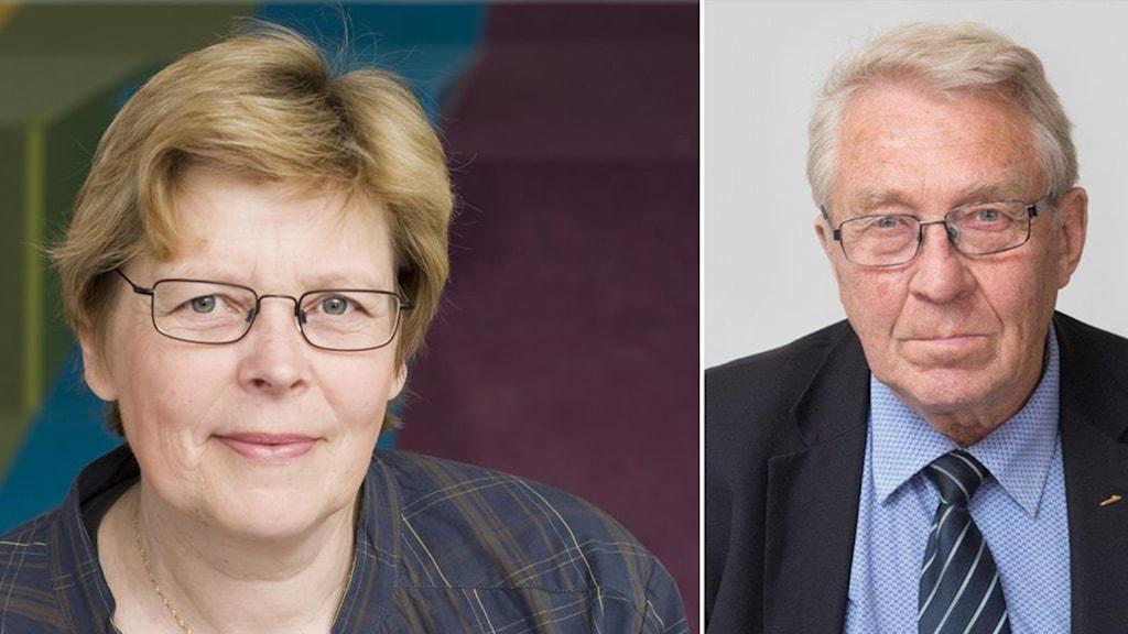 porträttbilder på en kvinna och en man i ett fotomontage.