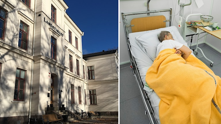 Landstingshuset och en patient i sjukhussäng.