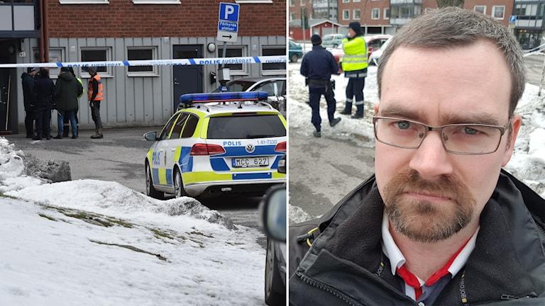 Frilansfotografen Pontus Stenberg på plats i Oxelösund, där en man hittats död.