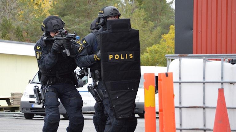 Polisen övar insatsförmåga i Eskilstuna.