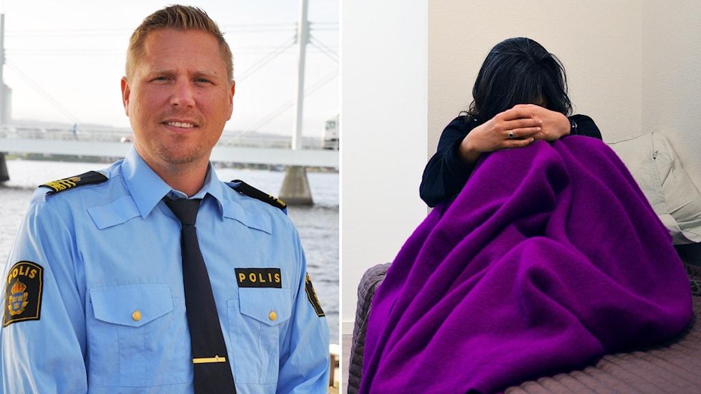 Marcus Anefur vid polisen i Jönköping, inklippt vid sidan av genrebild på kvinna som sitter gömd under filt.