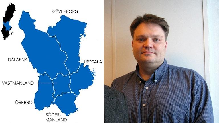 Olof Jonmyren och en karta på den föreslagna storregionen.