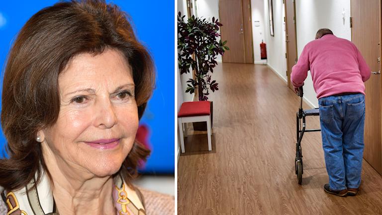 Drottning Silvia ihopsatt med man som går i korridor på äldreboender