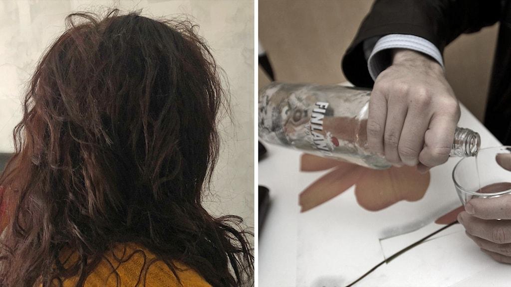 Montage av en bild på en kvinna fotad snett bakifrån och en man som häller upp sprit i dricksglas.