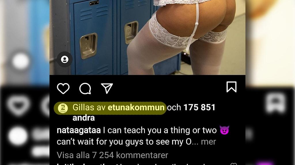 Skärmdump från Instagram som visar en modells rumpa och en så kallad lajk på bilden från Eskilstuna kommun.