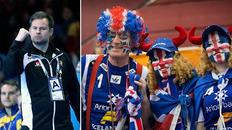 Kristján Andrésson och Isländska supportrar