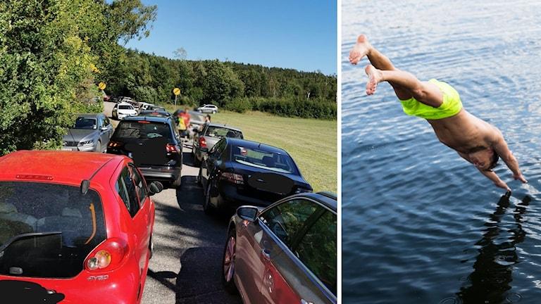 Två bilder: Flera bilar parkerade på grusväg och en person som dyker i vattnet.
