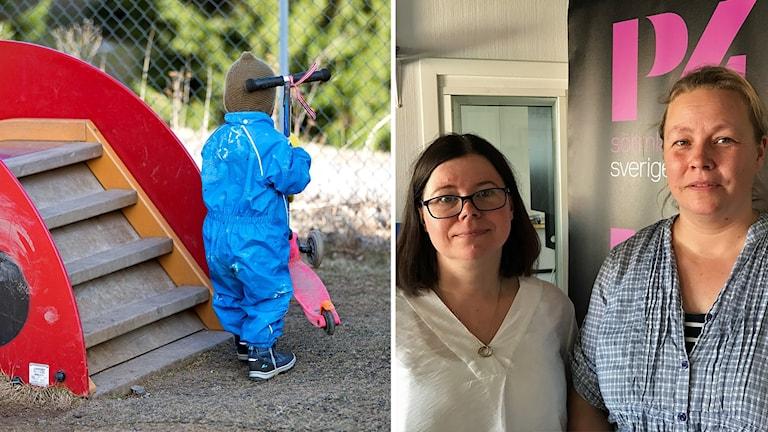 Ett barn på förskola och Tove Forsberg och Hanna Sjöström.