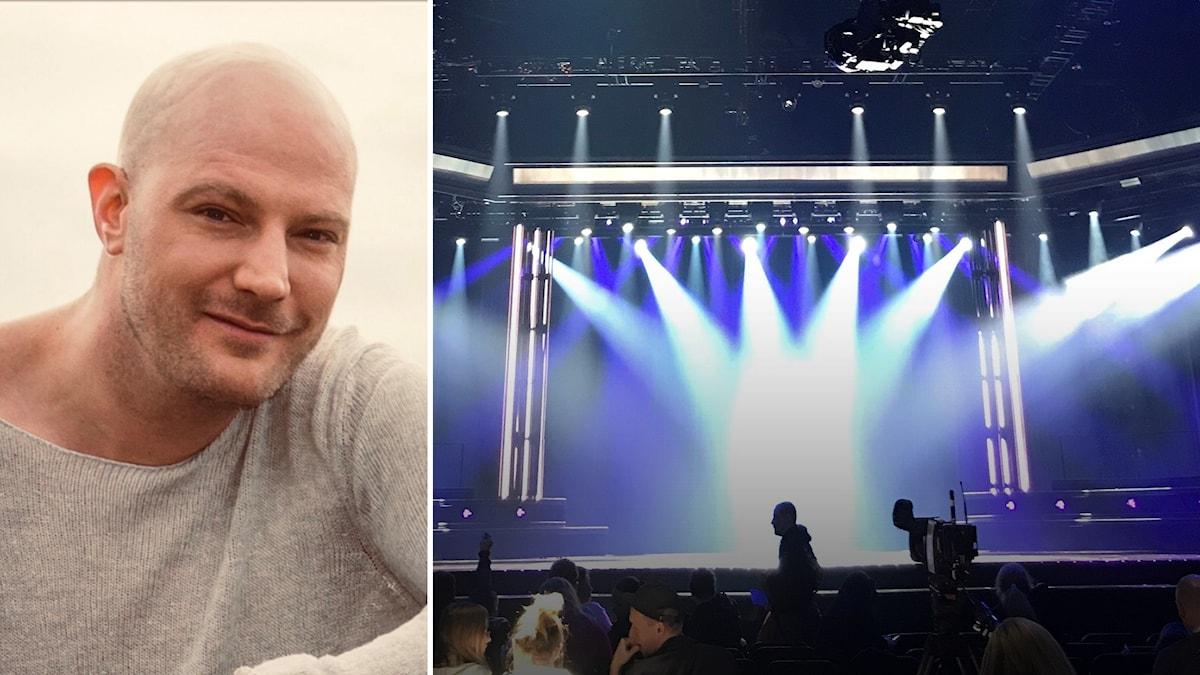 En tom scen under Melodifestivalens andra chansen i Eskilstuna i bildmontage med foto på Micke Mårtensson.