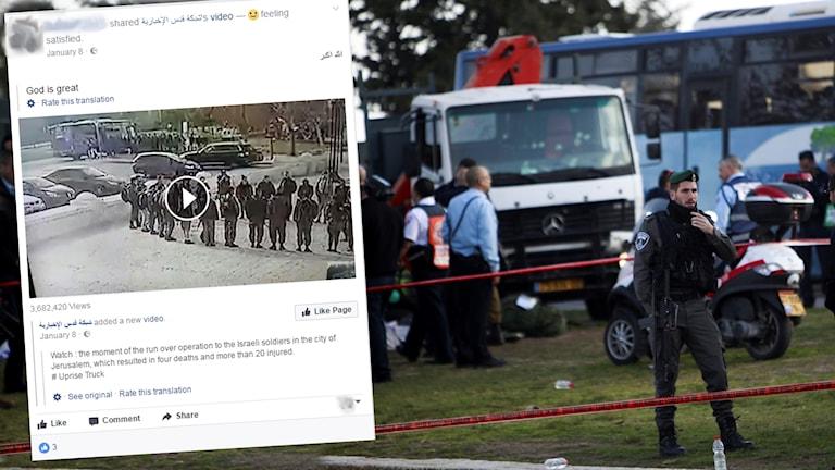 Ett Facebookinlägg och bild från dåd i Israel.