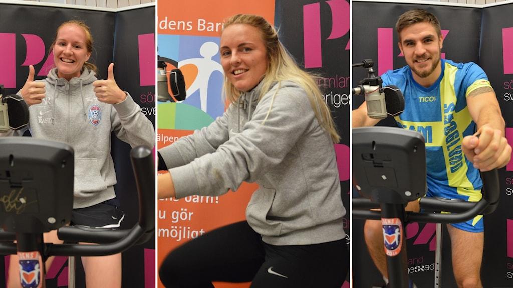 Vaila Barsley Mimmi Larsson Erik Skoglund cyklar för Världens Barn.