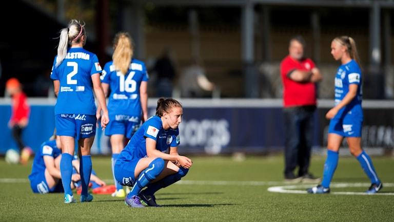 Eskilstunas Petra Andersson deppar efter  lördagens match i damallsvenskan mellan FC Rosengård och Eskilstuna United DFF på Malmö IP.