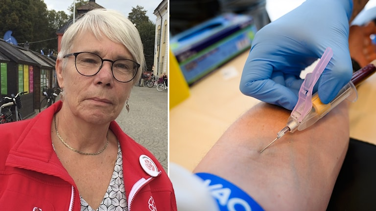 Monica Johansson (S) i fotomontage med ett blodprov.