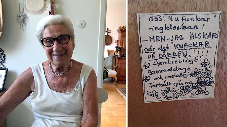 Mona Sunström Hellberg och lappen på dörren om att knacka.
