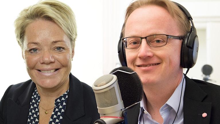 Lotta Finstorp (M) och Fredrik Olovsson (S)