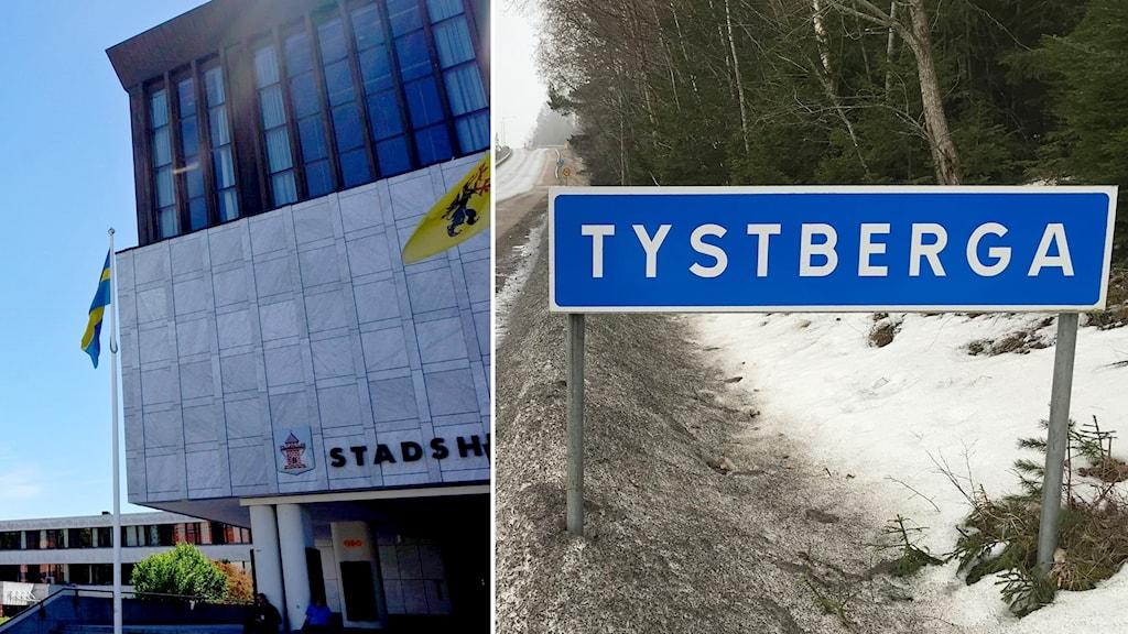 Stadshuset i Nyköping och Tystberga-skylten