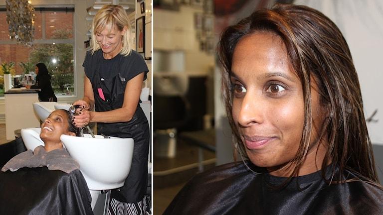 Frisören Cia Ronach tvättar håret på Sabina Bjurhem