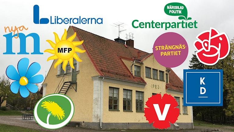 Bild på Härads skola, omringad av logotyper från alla politiska partier.