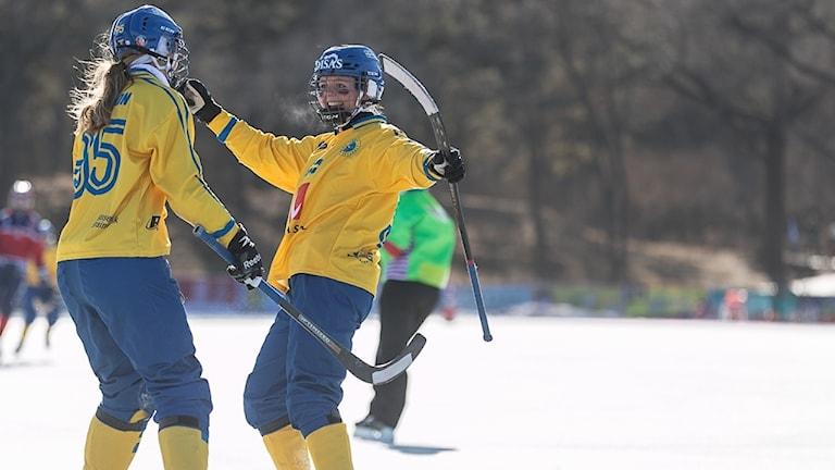 Svenska bandyspelare jublar på is.