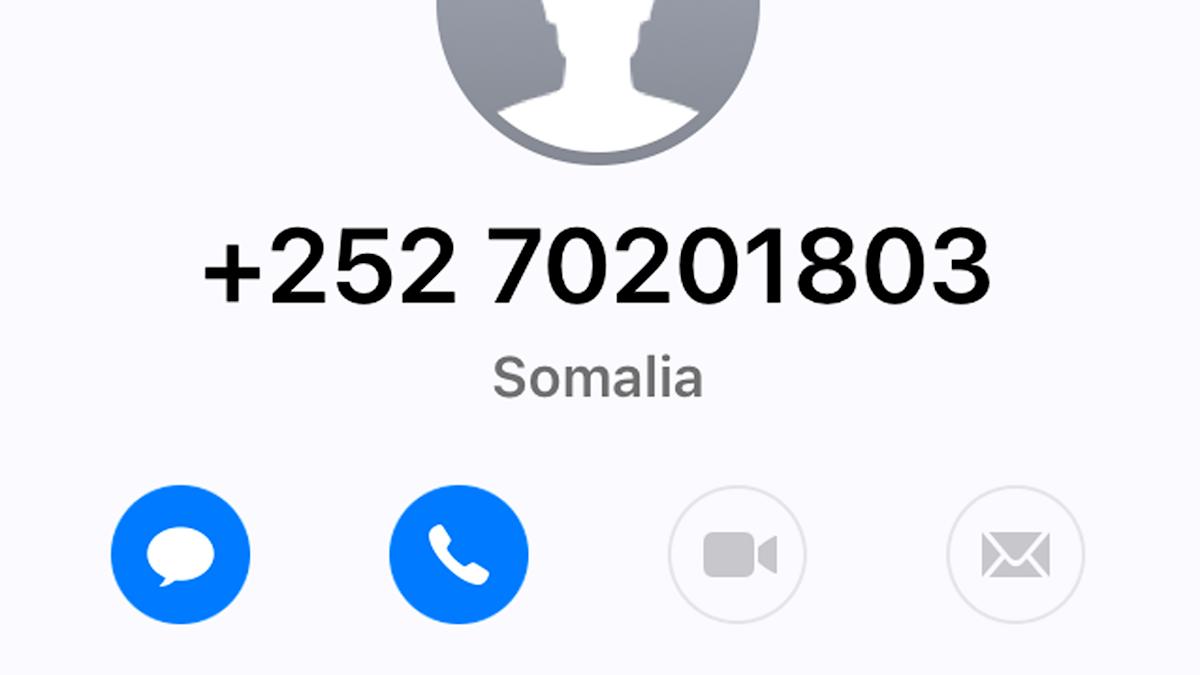 Bild på mobilen om hur det ser ut när bluffsamtal ringts från Somalia.