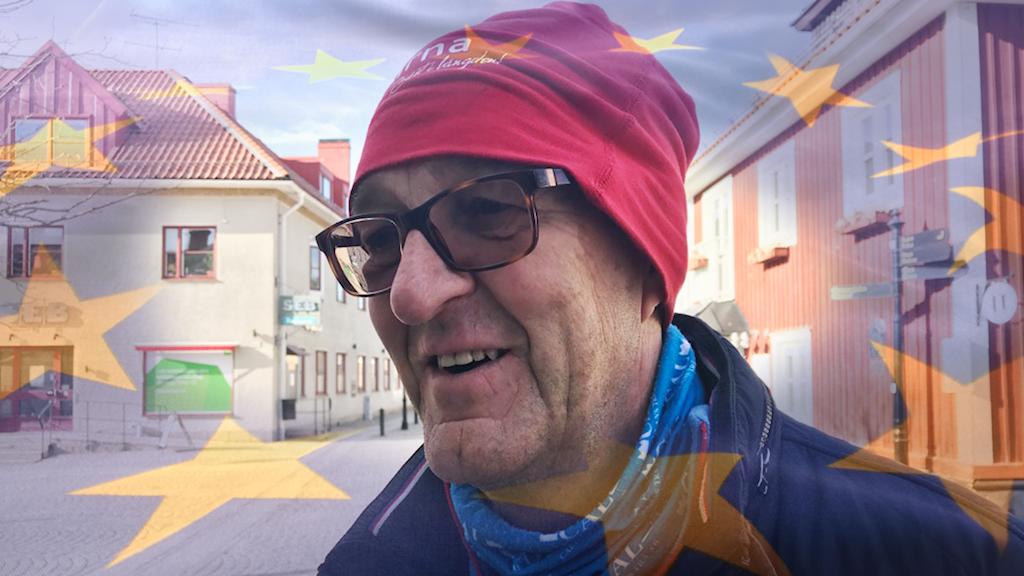 Christer Lundemo i Trosa EU flagga