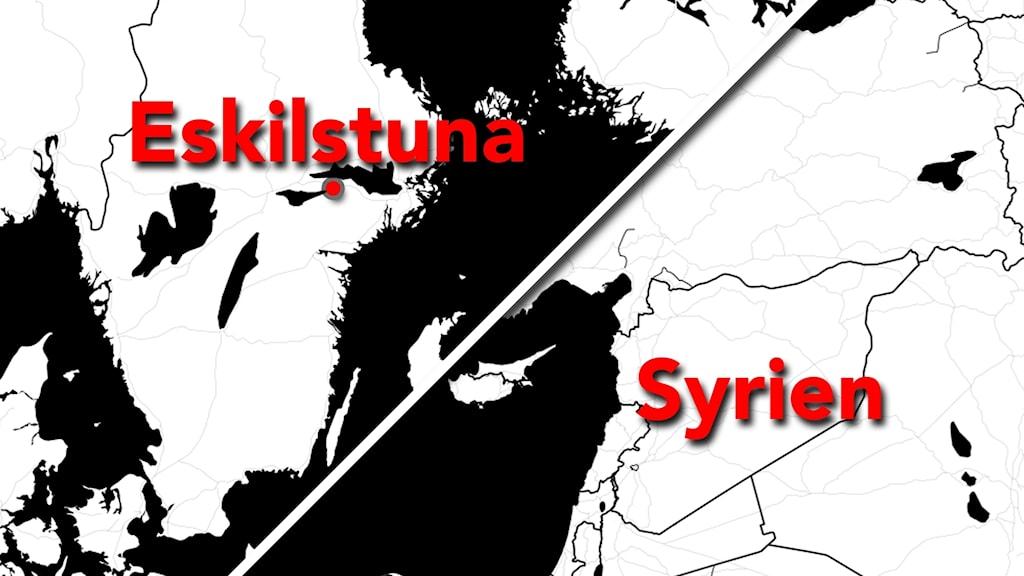 Karta över Syrien och Sverige