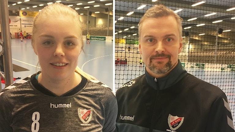 Mittsexan Caroline Karlsson och Tränaren Johan Moberger i Guif. Foto: Tobias Danielsson/Sveriges Radio.