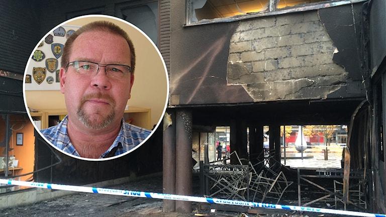 Lars Franzell inflikt över bild på eldhärjad Restaurang.
