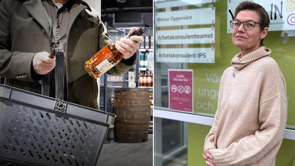 Kvinna lutar sig mot glasvägg med informationsskyltar på i ett fotomontage med en man som handlar sprit.