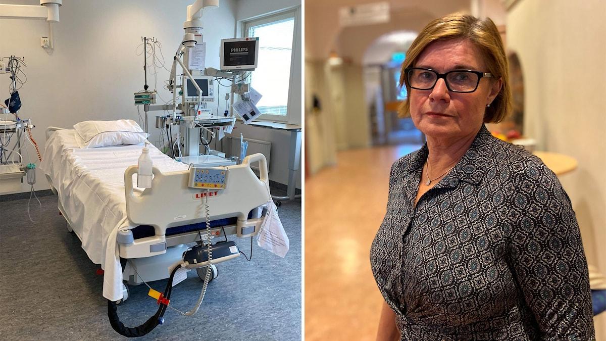 Bildkollage med en tom sjukhussäng och Marie som står i en korridor.