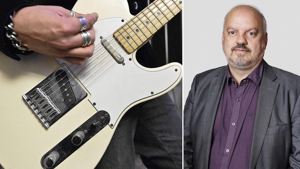 Mikael Palo, verksamhetsområdeschef kultur och utbildning. Inklippt vid sidan av person som spelar gitarr.