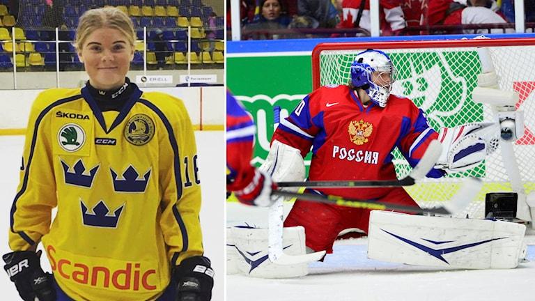 Lova Blom, 14-årig ishockeyspelare från Nyköpings HK som är uttagen i junior-VM i januari.