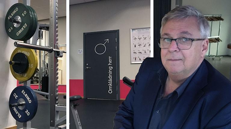 Montage av bilder från gym tillsammans med porträtt på Tommy Andersson.