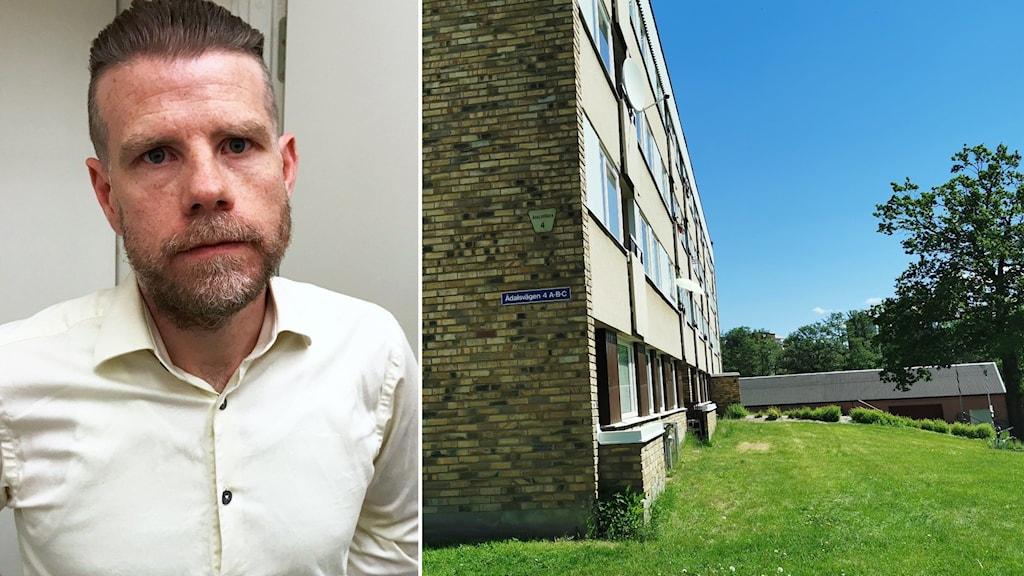 en man i vit skjorta i fotomontage med en bild på hyreshus.