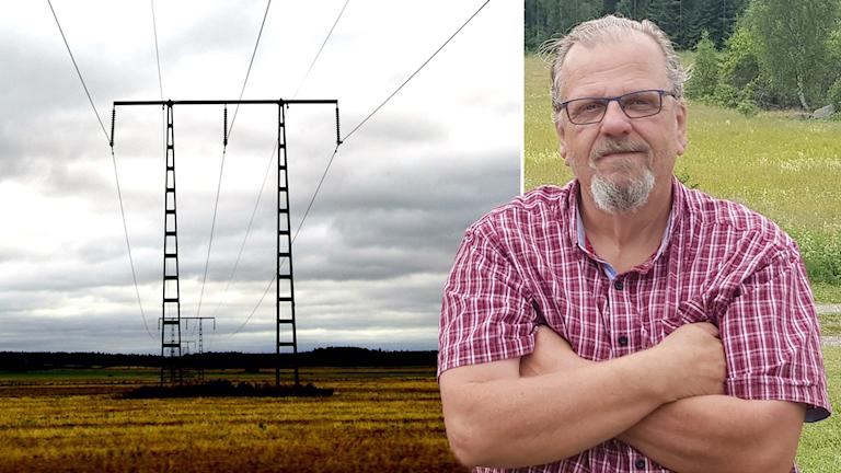 Ole Thronborg i Stigtomta utanför Nyköping är en av många som berörs av Vattenfalls planer på en kraftledning genom halva Sörmland. Bilden på kraftledningen är en arkivbild.