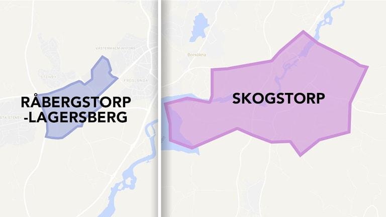 Karta över Råbergstorp, Lagersberg och Skogstorp i Eskilstuna.