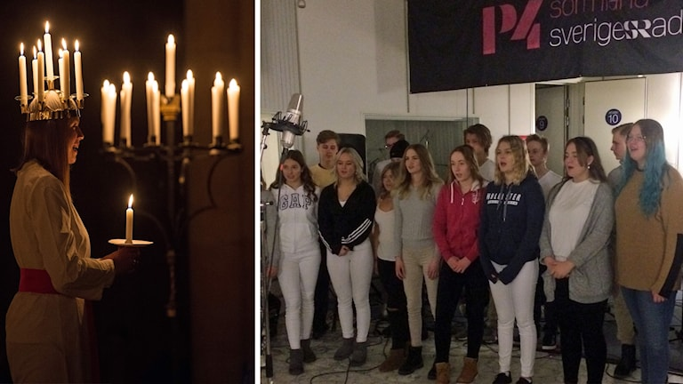 Kollage: Lucia och Musikklasser i stora studion