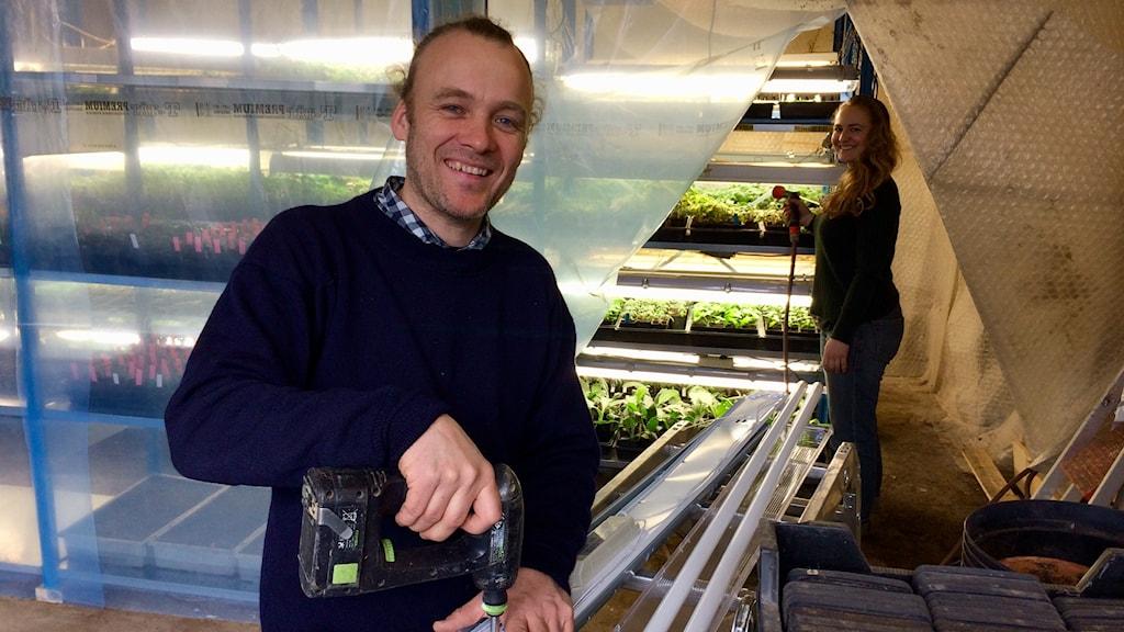 Anton Schneider håller i en skruvdragare och Anja Hellström vattnar tomatplantor