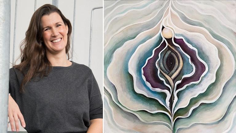 Emma Bergqvist är projektledare för Arworks4change. Till höger: tolkning av vagina, gjord av Malin Östlund.