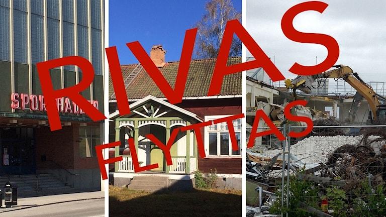Sporthallen, Djulö skola och en grävmaskin.