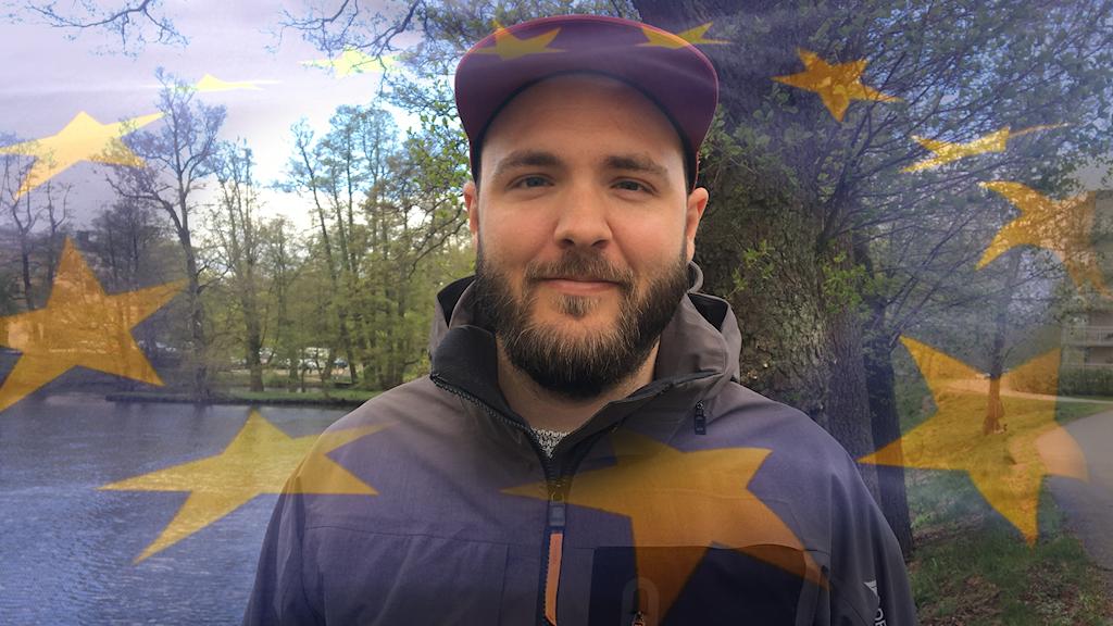 Man vid sjö med EU-flagga photoshopad