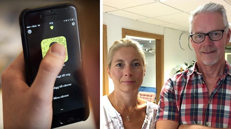 En mobiltelefon och Pernilla Kjellström och Mikael Karlsson.