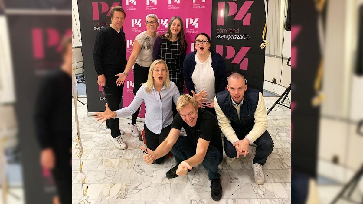 P4 Sörmlands Fredrik Blomberg, Jenny Roxberger, Katarina Wahlström, Johanna Iggsten, Evelina Crabb och Tobias Danielson.
